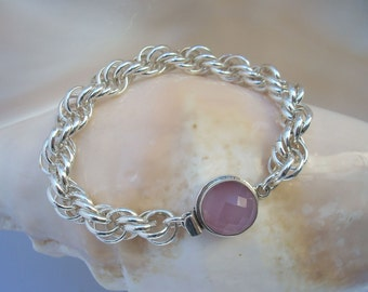 Bracelet: Pink Chalcedony on Sterling Chainmaille - Old Rose Chalcedony on Argentium  Silver Spiral