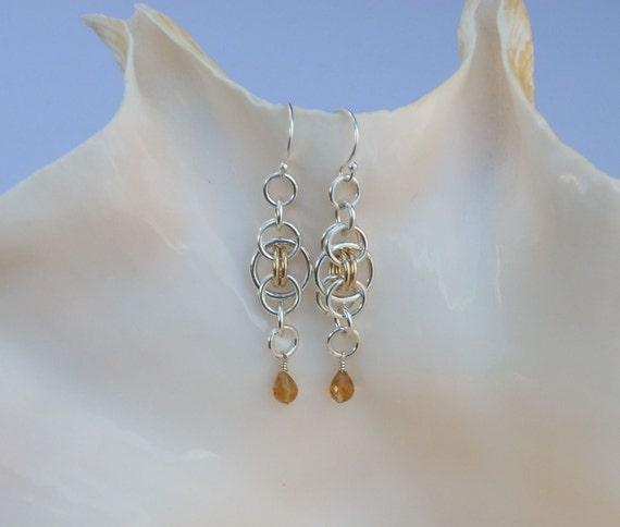 Citrine Briolettes on Parallel Weave Earrings