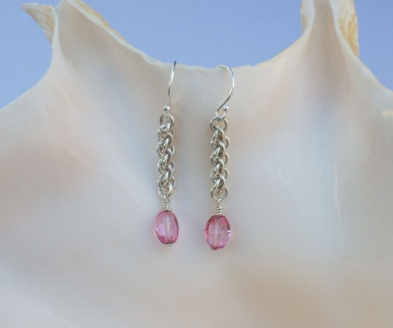 Pink Topaz Drop Earrings with Jens Pind Argentium Silver Chains