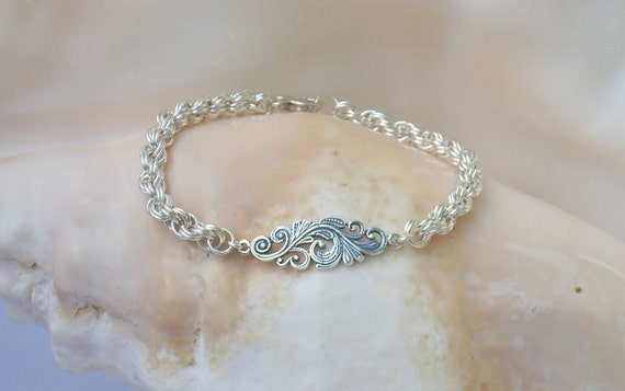 Sterling Filigree Link on an Argentium  Silver Double Spiral Bracelet