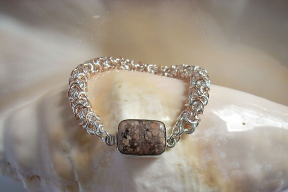 Bracelet: Magnasite Box Clasp on an Argentium  Silver and Rose Gold-filled Turkish Round Chain Maille