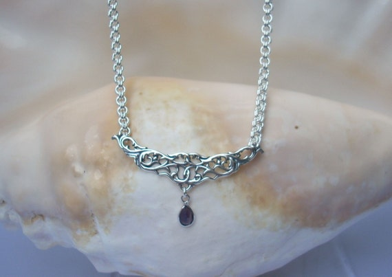 Necklace: Sterling Filigree with Iolite Drop on a Handmade Argentium Silver 2-in-2 Chain