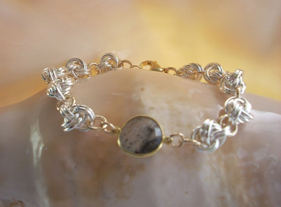 Bracelet: Chain maille Silver Rosettes and Gold Filled Connectors - Rutilated Quartz
