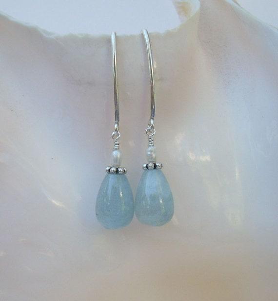 Aquamarine and Seed Pearl Earrings
