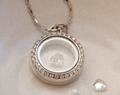 Locket necklace for April birthstone with clear white heart crystal charm with memory glass fillable pendant