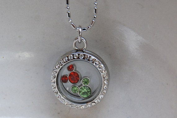 Locket necklace with 2 Disney's Mickey Mouse Ears birthstone crystals (you choose the months) in round cubic zirconia glass fillable pendant