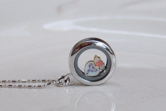 Locket necklace with cute pink and white heart and pink heart with white wings charm in memory glass fillable locket pendant necklace