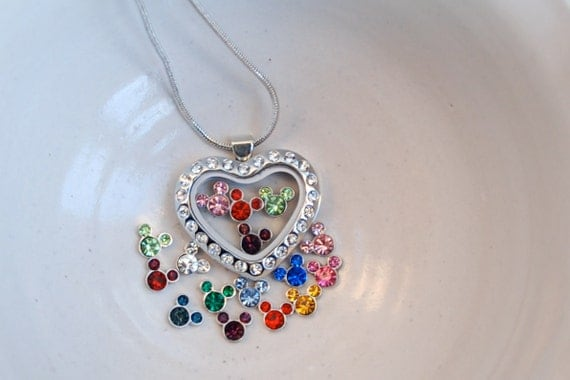 Glass locket necklace with Disney's Mickey Mouse Ears in 4 birthstone crystals (you choose the months) in cz heart fillable pendant