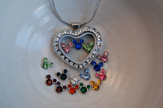 Glass locket necklace with Disney's Mickey Mouse Ears in 3 birthstone crystals (you choose the months) in cz heart glass fillable pendant