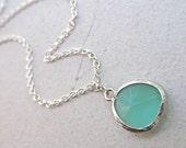 BESTSELLER - Buffed Ocean Blue Seaglass Charm Necklace - Silver