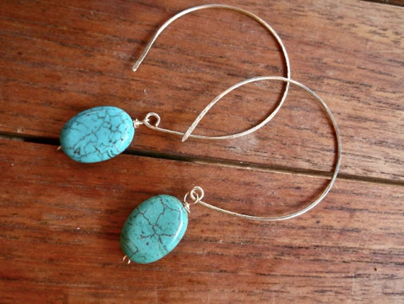 Threaded Turquoise Drop Earrings- 14K Gold Fill or Sterling Silver