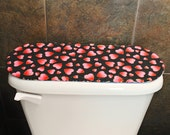 Toilet Tank Lid Cover for Valentines Day / Independence Day / 4th of July, Red Hearts / Red, White and Blue, Reversible,Quilted.