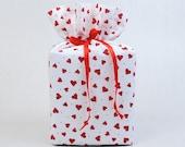 Valentine's Day Tissue Box Holder, Red Hearts Kleenex Box Cover, Handmade.