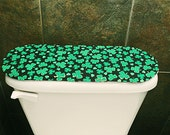 Red Toilet Tank Cover for Valentines Day-St. Patricks Day, Red Hearts-Shamrocks BathroomDecoration.