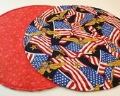 Red, White and Blue Table Runner, Round, Reversible, for Valentine's Day/Independence Day/4th of July, Memorial Day/Labor Day, 20 in. dia.
