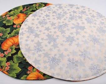 Silver Stars Table Runner, Round Table Runner, Quilted, Handmade, Reversible, 20 in. dia.