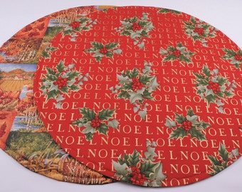 Autumn Table Runner, Round, Handmade, Quilted, Reversible, 20'' dia.