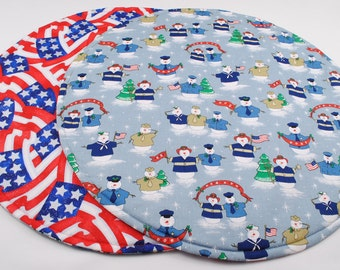 Patriotic Table Runner, Round, Quilted, Handmade, Reversible, 10 in. dia.