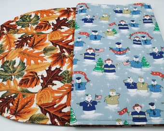 Table Runner - Reversible, Fall / Christmas / Winter, Quilted, Handmade, 42''x17''