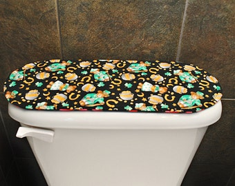 Toilet Tank Cover for Valentines Day / St. Patricks Day, Red Hearts / Shamrocks.