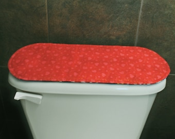 Red Toilet Tank Cover, Valentines Day Bathroom Decoration, St. Patricks Day Bathroom Decoration.