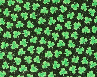 Fabric Green Shamrocks Fabric Clover Leaf Fabric Celtic Fabric Irish Fabric St. Patrick's Day Fabric 100% Cotton by Fabric Traditions