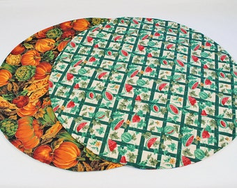 Watermelon/Pumpkin Table Runner, Round, Summer/Fall Round Table Cloth,Summer/Fall Decoration, 20 in. dia.