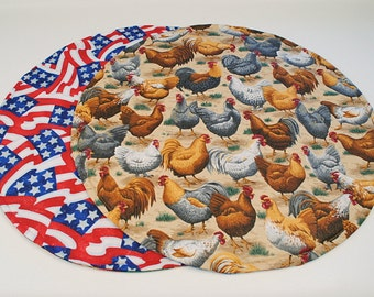 Chickens/Red White and Blue Table Runner, Round,Quilted, Country/Patriotic Table Decoration, 20 in. dia.