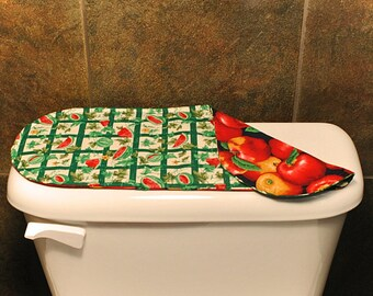 Green Toilet Tank Cover, Red Apples Bathroom Accessories, Summer/Watermelon Bathroom Decoration, Green/Red Toilet Lid Cover.