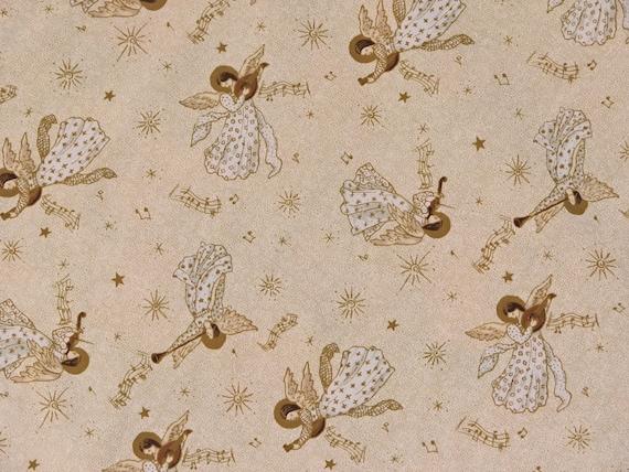Angel Fabric Christmas Angel Fabric Cotton Fabric Gold Fabric Gold Angels Fabric Gold Christmas Fabric 2 and 2/3 yards yards