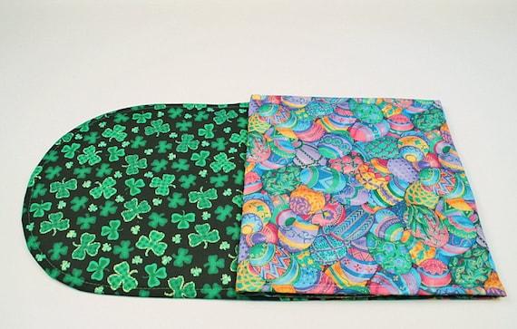 Easter/ St. Patricks Day Table Runner, Easter Eggs/Green Shamrocks Table Decoration, Reversible, Handmade, 42 in. x 11 in.