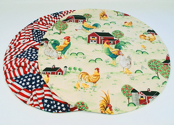 Roosters/Barn Table Runner, Round,Quilted, Country/Patriotic Home Decoration, 20 in. dia.