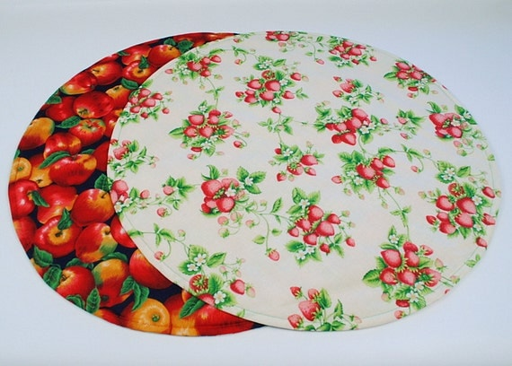 Strawberry/Apples Round Table Runner Round Table Cloth, Red Apples/StrawberryTable Decoration, Quilted, Reversible, 20 in. dia.