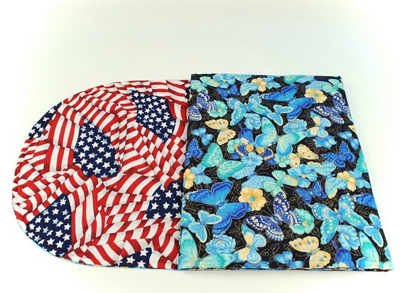 Butterfly/Patriotic Table Runner,Summer/Red White and Blue Table Cover, Quilted Table Cloth, 49 in. x 14 in.