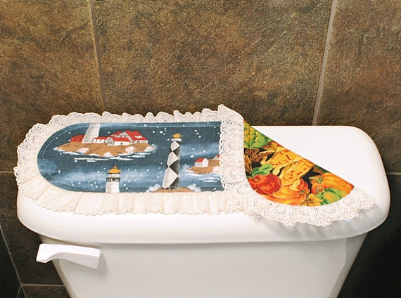 Lighthouse/Halloween Toilet Tank Cover, Halloween/Thanksgiving Bathroom Accessories, Lighthouse/Fall Bathroom Decoration.