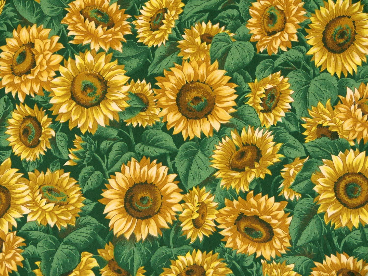 Sunflower bathroom decor - Fabric Sunflowers On Dark Green Background V I P Print By