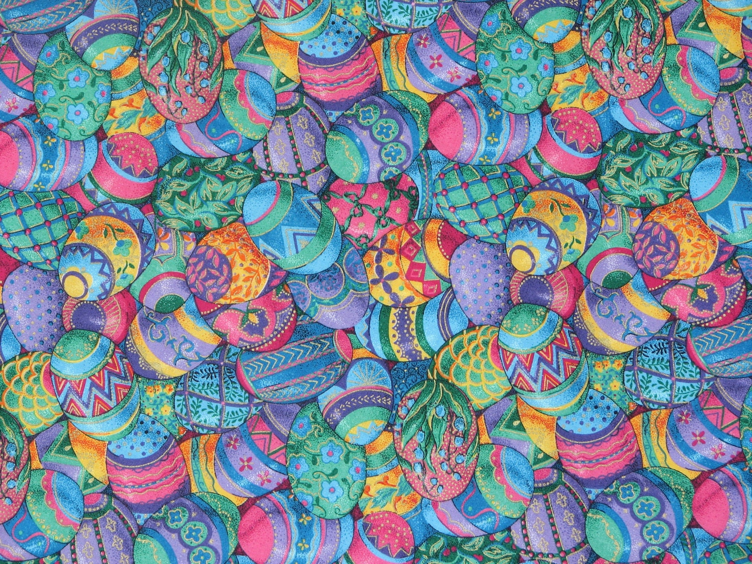 Easter fabric bright easter eggs home decor fabric spring for Fabric mural designs