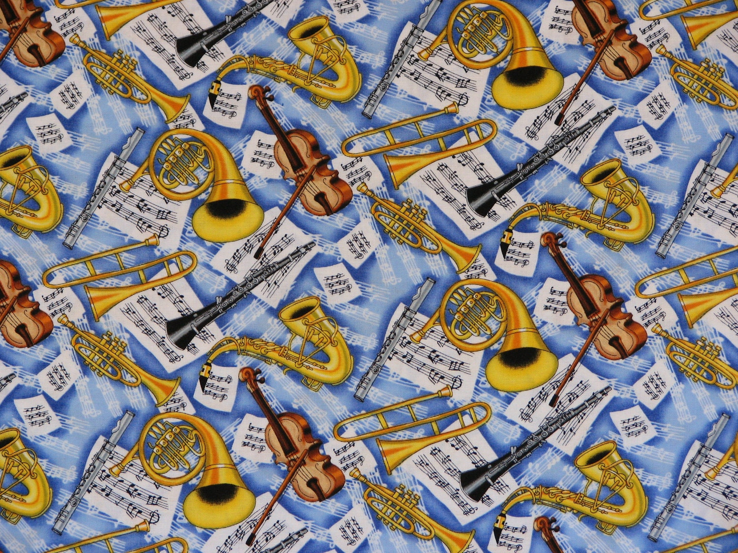 Music Instruments Music Notes Fabric Blue Cotton Fabric