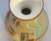 """Native American Sand Painting, Navajo Sand painting Pottery Vase by P. Morgan, """"Female Yei"""""""