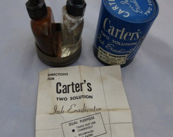 Vintage Carters Two Solution Ink Eraser Complete Tin & Bottles