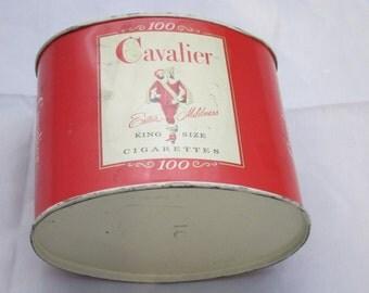 Vintage Cavalier Cigarette Tin, Vintage Industrial Home Decor Kitchen Canisters, Unique Housewarming Gifts, Original Makeup Storage Ideas