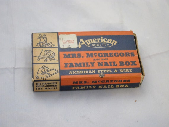 Vintage Box, Mrs. McGregers Family Nail Box by American Steel & Wire Co.