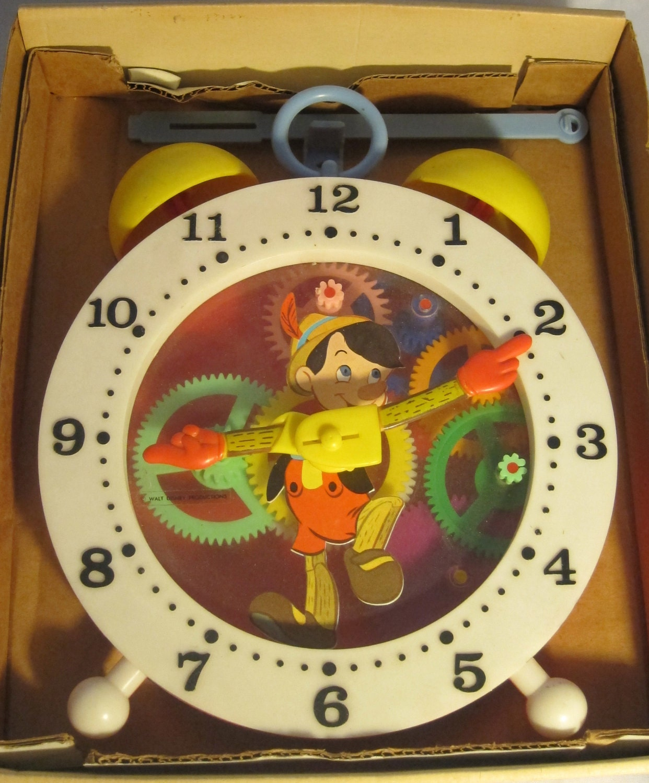 Vintage Walt Disney Pinocchio Clock Tell Time Clock