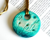 air dry clay necklace, circle shape, wearable art, jewelry, handmade, original painted, floral, aqua green, turquoise, golden bronze