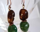 Natural Agate, Jasper and Copper Earrings