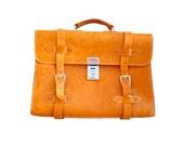 Unique Vintage Briefcase Attache Laptop Brown Leather Bag 16.5x11.5x6 inch