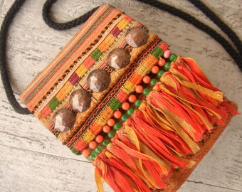 Ethnic camera case bag with ribbon fringe. Hippie // vintage // up-cycled textile // embroidery // cross stitch