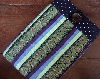 Kindle sleeve Embroidery Cover  //   padded  //  tribal textile  //  kindle case //  kindle fire // kindle cover // multi stripe