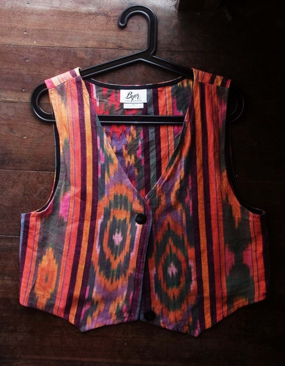Ethnic Ikat vest, Byer California // colorful // tapestry // kilim // woven // vintage