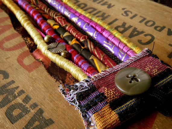 Material Girl-Fiber, Cord, and beaded Scrap Tapestry Cuff Bracelet